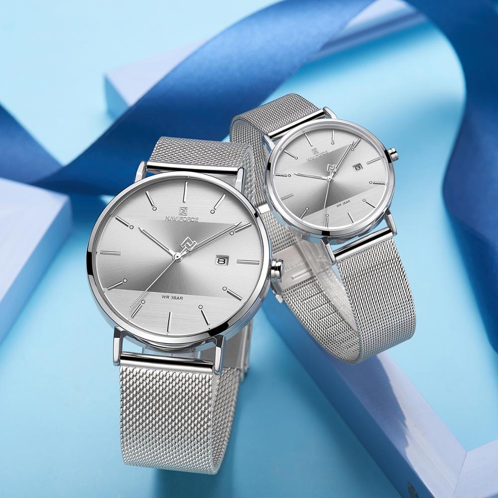 NAVIFORCE Top Brand Luxury Men Quartz Watches Women Steel Waterproof Casual Date Couple Clock Male Wrist Watch Relogio Masculino title=
