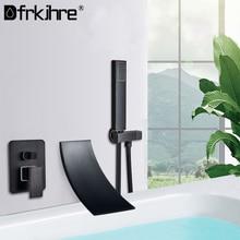 Preto chrome cachoeira torneira da banheira do banheiro conjunto de montagem na parede banho misturador água quente e fria torneira do chuveiro robinet baignoire