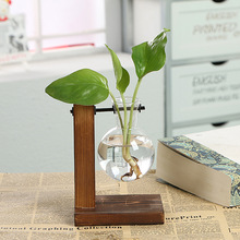 Terrarium Hydroponic Plant Vases Vintage Flower Pot Transparent Vase Wooden Frame Glass Tabletop Plants Home Bonsai Decor