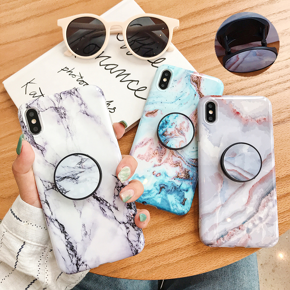LOVECOM Crackle Marble Stand Holder Phone Case For IPhone 11 Pro Max XR X XS Max 7 8 6S Plus Case Full Body Soft IMD Phone Cover