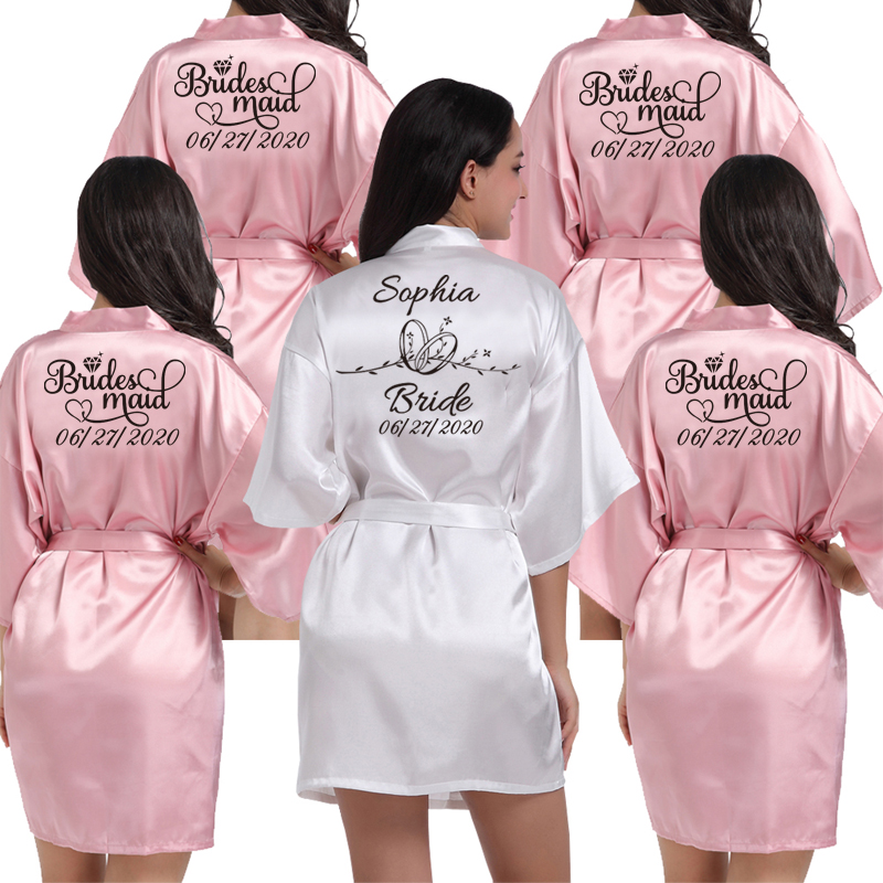 Custom Logo Weddin Date Name Faux Silk Kimono Robe Women Wedding Bride Bridesmaid Robes Bachelorette Wedding Preparewear