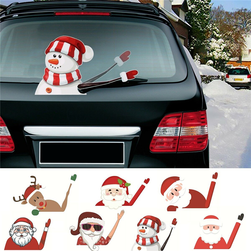 2019 New Car Accessories Christmas Auto Decorations DIY Car Sticker Windshield Santa Claus Cute Window Decals Car Wiper Sticker-in Car Stickers from Automobiles & Motorcycles