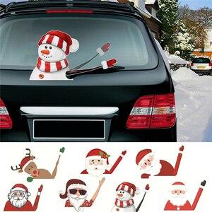 Image 1 - 2019 neue Auto Zubehör Weihnachten Auto Dekorationen DIY Auto Aufkleber Windschutzscheibe Santa Claus Nette Fenster Aufkleber Auto Wischer Aufkleber