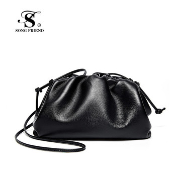 SONG FRIEND Genuine Leather handbags head layer cowhide litchi grain women handbags fashion Portable shoulder bag messenger bags