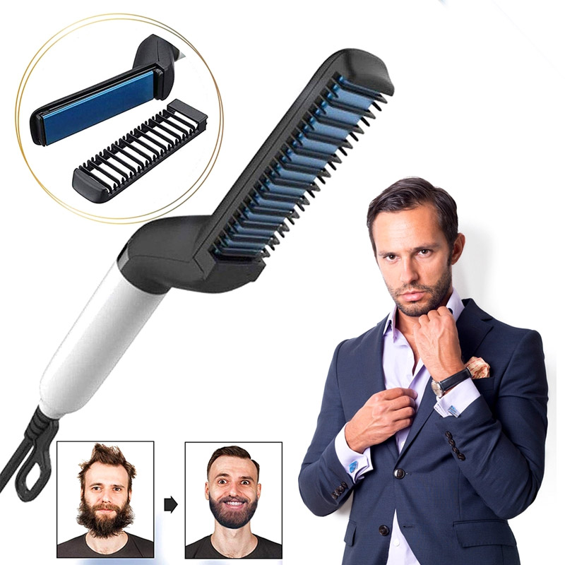 Multifunctional Hair Comb 15s Preheat Quick Beard Straightener Curling Curler Show Cap Men Beauty Hair Styling Tool with Cable