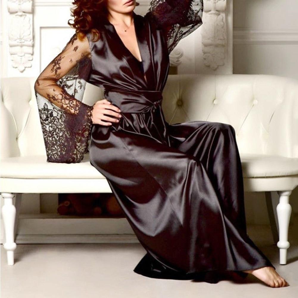Women Sexy Lace Robe Simulation Silk Lace See Through Long Robe Sleepwear Nightwear Gown Bathrobe Nightdress Black White