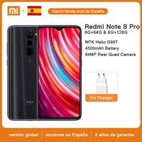 Xiaomi-Smartphone Redmi Note 8 Pro, teléfono móvil versión global, 6GB de RAM y 64GB / 128GB de ROM, Quad cámara de 64 MP, Helio G90T MTK, 4500 mAh, 18 W, QC 3.0