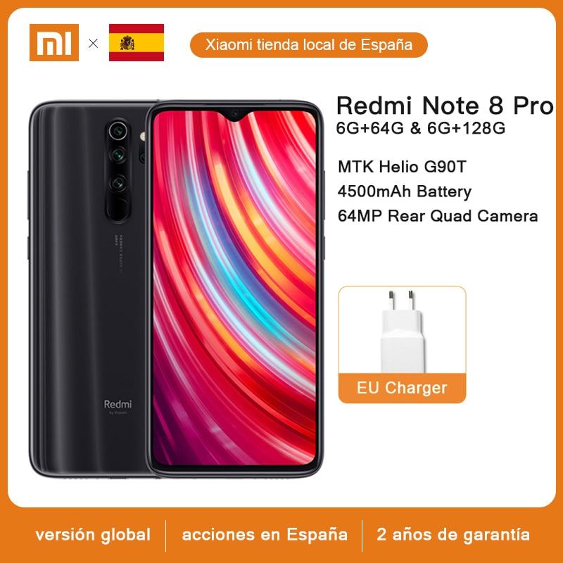 Version mondiale Xiaomi Redmi Note 8 Pro 6 go RAM 64 go/128 go ROM Smartphone 64MP Quad caméra MTK Helio G90T 4500mAh 18W QC 3.0