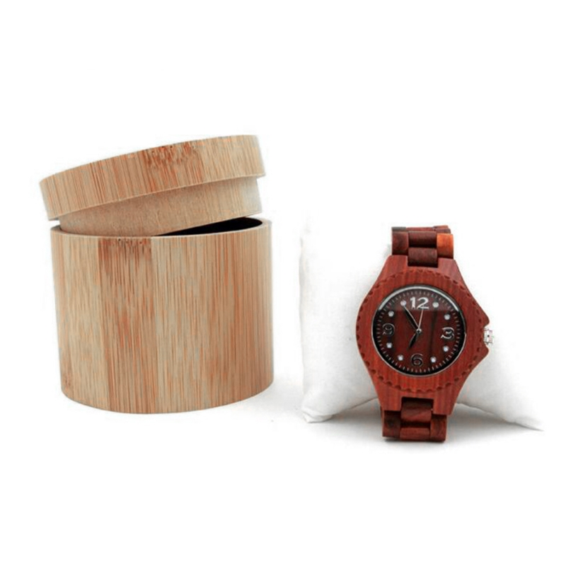 Elegant Bamboo Watch Gift Box Jewelry Display Cylindric Storage Case With Pillow