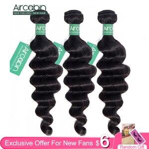 Aircabin Hair Loose Deep Wave Bundles Peruvian Hair Bundles Remy Human Hair Extensions Natural Color More Wave Fast Shipping(China)
