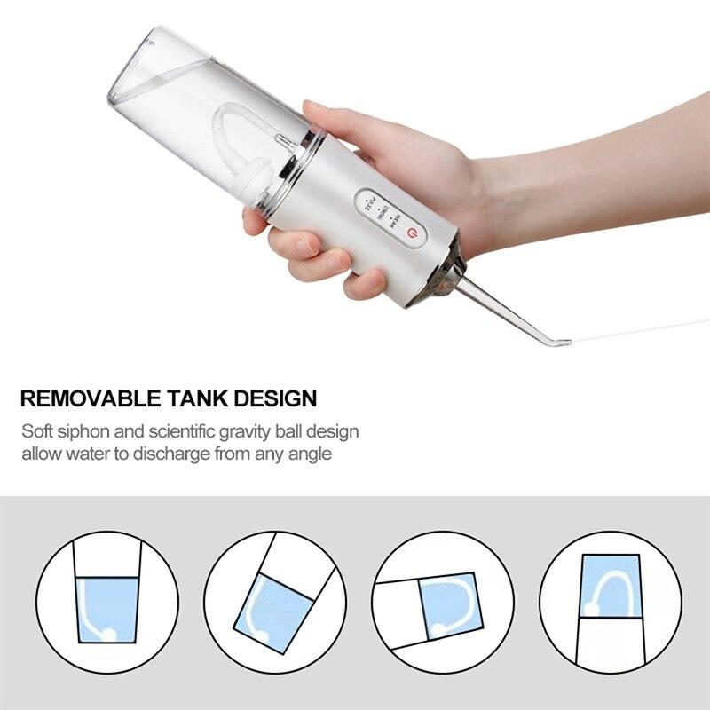 Ирригатор для полости рта зубов, 3 режима, USB, перезаряжаемый водный Флоссер переносная зубная вода Jet, емкость для воды 220 мл, водонепроницаемый очиститель зубов отбеливание зубов иригатор для зубов 3