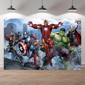 Image 1 - Vinyl Personalized super heroes Iron man Hulk Banner Photography Backgrounds professional indoor Birthday Banner Photo Backdrops