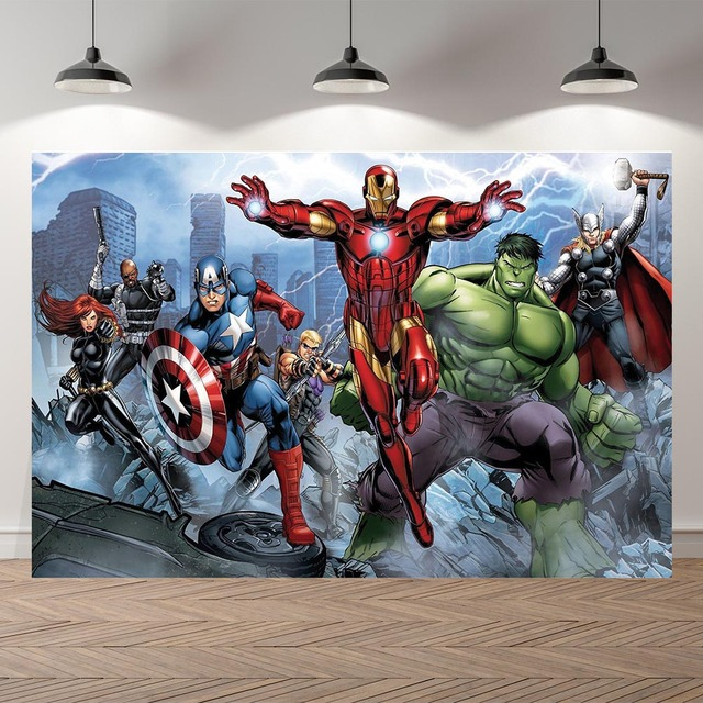 Vinyl Personalized super heroes Iron man Hulk Banner Photography Backgrounds professional indoor Birthday Banner Photo Backdrops