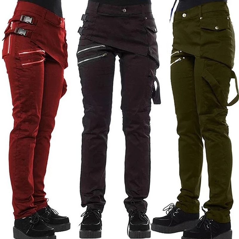 Women Gothic Pants Zipper Pockets Rivet Steampunk Trousers 2019 Fashion Autumn Winter Hip Hop Rock Style Pants Girl Plus Size Hh