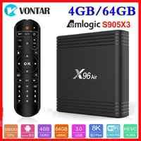 Mais novo amlogic s905x3 android 9.0 caixa de tv x96 ar máximo 4 gb ram 64 gb rom quad core 2.4g & 5g duplo wifi 2g/16g 4 k media player x96air