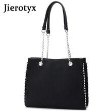 цена на JIEROTYX Women Leather Handbags Design Scrub Bag Women Rivet Handbag Large Capacity Chain Shoulder Bag Ladies Tote Bag Wholesale