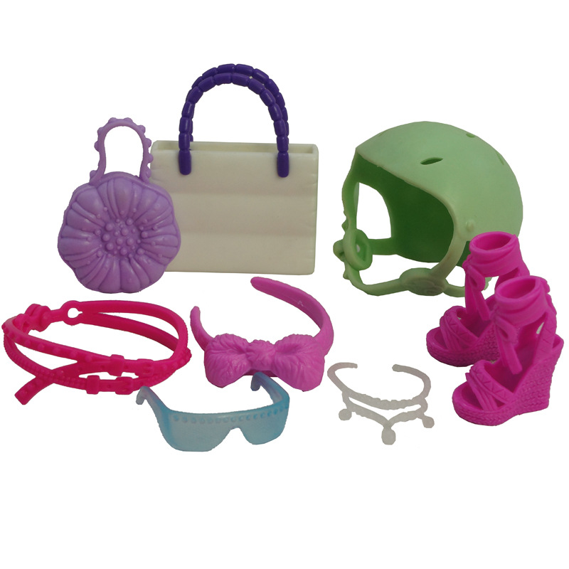 Colorful Doll Accessories Decors Bags Hats Shoes Necklace Glasses Girl Playing House Toys Doll Dressing Parts Kids Party Favors