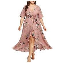 Платье женское ropa mujer vestidos de verano платья vestidos verano mujer robe femme Новые повседневные платья с коротким рукавом и цветочным XL-5XL Z4