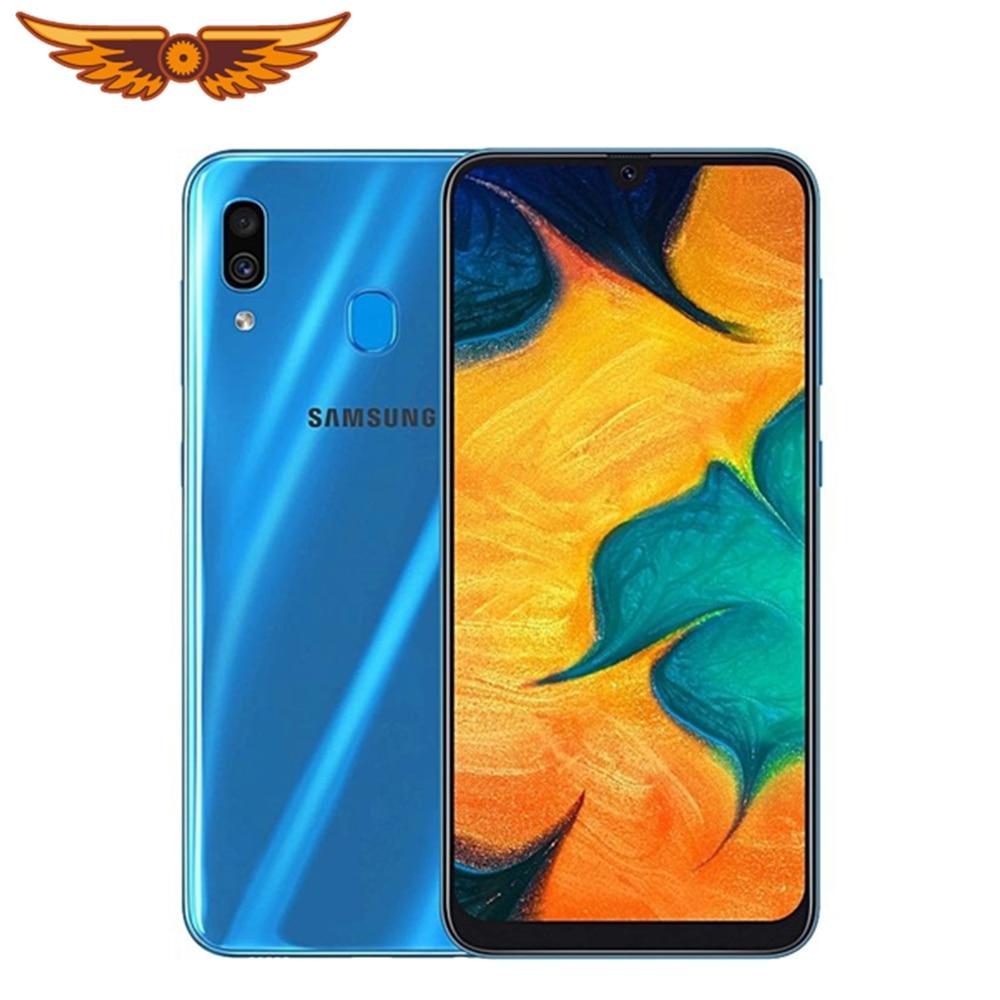 Оригинальный разблокированный Samsung Galaxy A30 Восьмиядерный 6,4 дюймов, 3 Гб оперативной памяти, 32 Гб встроенной памяти, 16MP LTE две sim-карты, распозна...