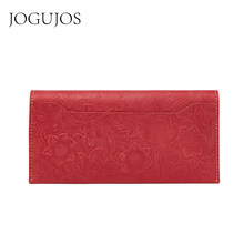 JOGUJOS Embossed Genuine Leather Passport Holder Wallets Women Wallet Brand Design Fashion Purse Clutch Coin Purse Card Holder(China)
