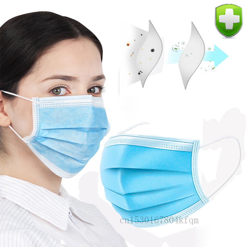 Hot Sale 50 Pcs Face Mask Fast Shipping Face Mouth Masks Non Woven Disposable Anti-Dust Protective Anti-virus Masks