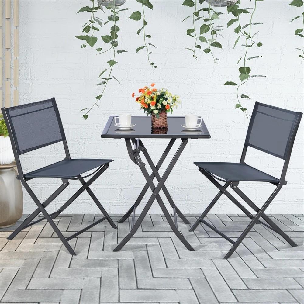 costway 3pcs bistro set garden backyard table chairs outdoor patio furniture folding
