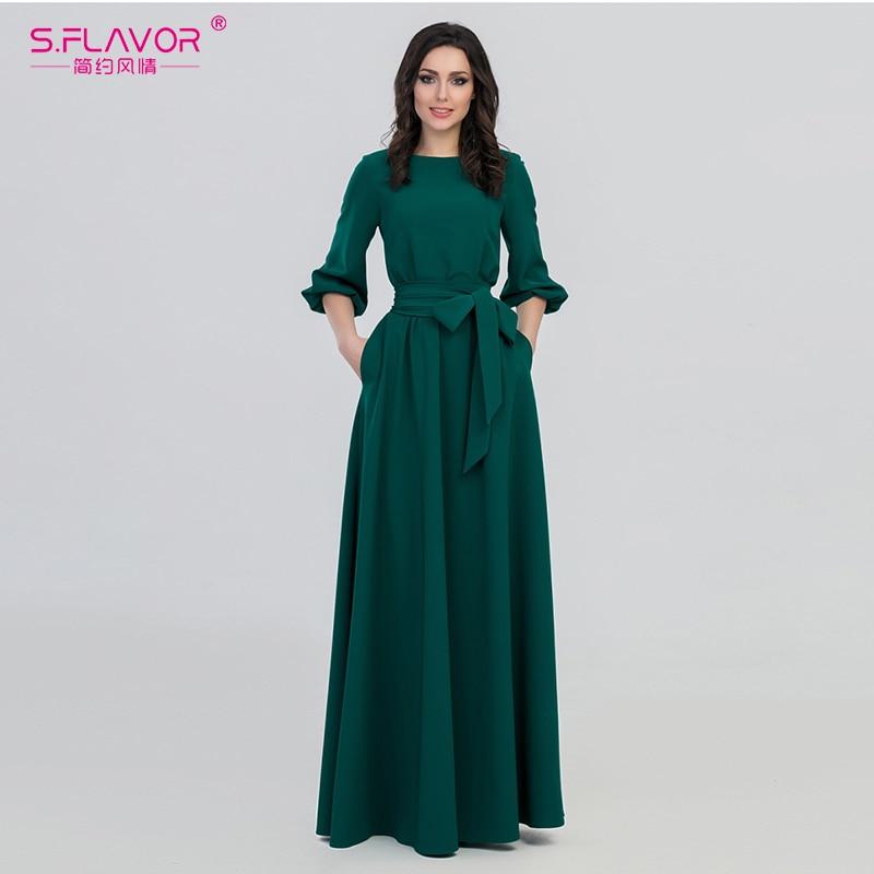 S.FLAVOR Green Color Woman O-Neck Long Dress Bohemian Style Slim Vestidos Vintage 3/4 Lantern Sleeve Casual Summer Dress(China)