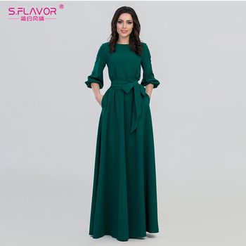 Green Color Woman O-Neck Long Dress