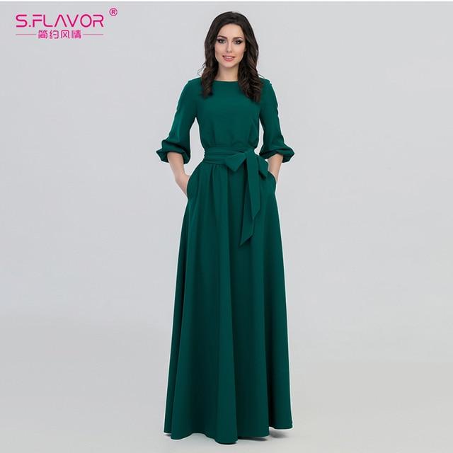 S.FLAVOR kolor zielony kobieta O Neck długa sukienka styl boho Slim Vestidos Vintage 3/4 latarnia rękaw Casual sukienka zimowa