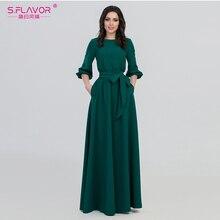 S. HƯƠNG VỊ xuân hè người phụ nữ Cổ Tròn dài Đầm phong cách Bohemian Slim vestidos Vintage 3 khu phố đèn lồng Thun Đầm