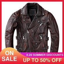 2021 Vintage Braun Amerikanischen Stil Motorrad Leder Jacke Männer Plus Größe 5XL Echtem Rinds Herbst Slim Fit Biker der Mantel