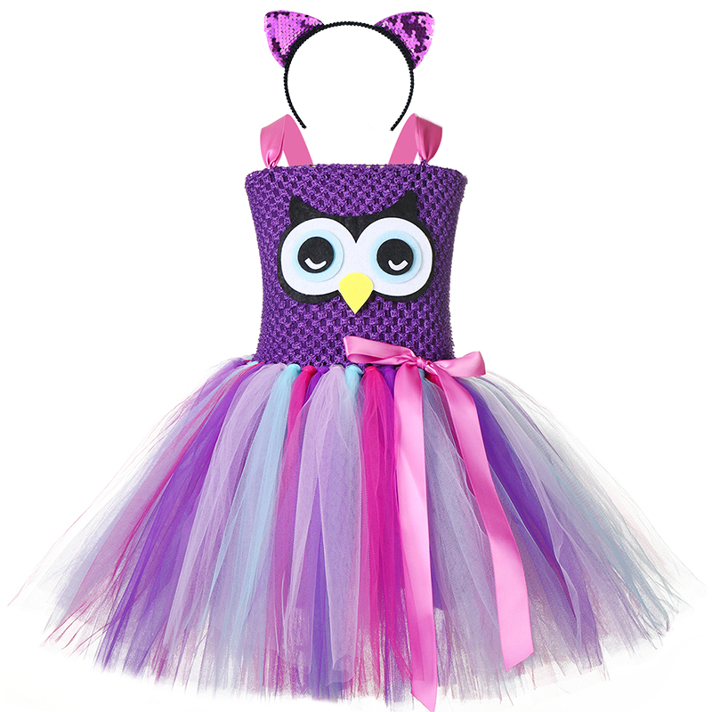 Halloween Girls Owl Role Play Tutu Dress Kids Nighthawk Animal Theme Birthday Party School Perform Cosplay Costume For Holidays 1