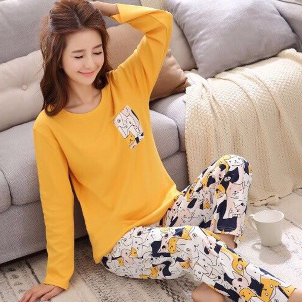 New Women Pajamas Cotton Pajamas For Women Pajama Set Nightwear Long Sleeves Autumn Spring Sleepwear Cotton Cartoon Pijamas