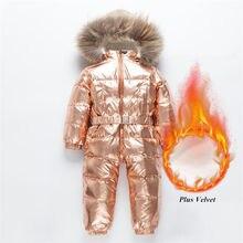 30 ロシア冬防寒着の幼児の少年少女 90% アヒルダウンロンパースオーバーオールキッズジャンプスーツ幼児ベビー 1 6 y Clj311