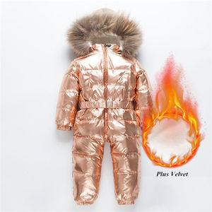 Image 1 -  30 רוסית חורף חליפת שלג פעוט בני בנות 90% ברווז למטה Rompers סרבל ילדי סרבל תינוקות תינוק 1 6 Y Clj311