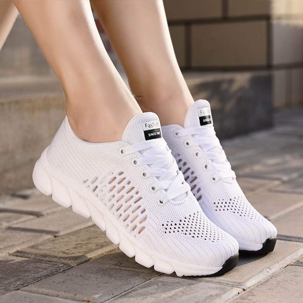 KANCOLLE Women's Fashion Mesh Breathable Ankle Flat Sneakers Lightweight Fitness Wild Casual Sport Athletic Shoes Sneakers 1213
