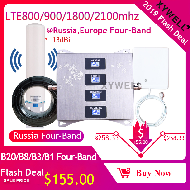 New!! LTE800 (Band20)/900/1800/2100 Mhz Four-Band Cellular Amplifier 4g GSM Mobile Signal Booster Gsm Repeater 2g 3g 4g Repeater