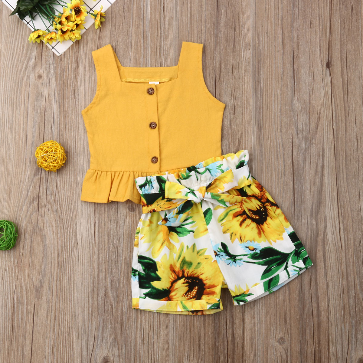 Toddler Kid Baby Girl Clothes Suit Solid Sleeveless Tops T-shirt+Shorts Pants 2pcs Outfit Set Summer 0-5T