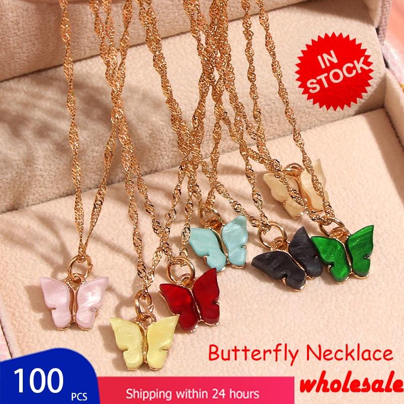 Flatfoosie 100 шт./компл. ожерелье с подвеской в виде бабочки золотистого цвета цепочка со стразами ожерелье наборы женские изысканные ювелирные и