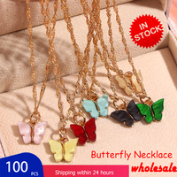 Flatfoosie 100Pcs/Set Butterfly Pendant Necklace Gold Color Twist Chain Crystal Necklace Sets Female Delicate Jewelry Wholesale