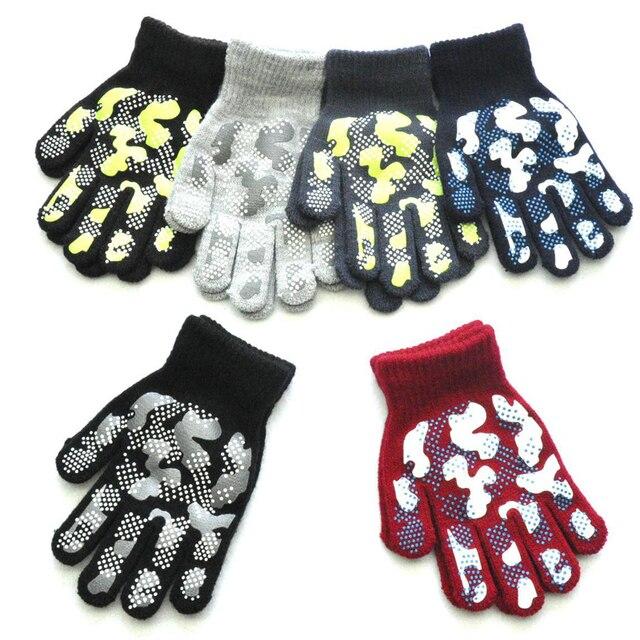 WARMOM 5-11 Year Children Winter Warm Knit Gloves Camouflage Color PVC Anti-slip Gloves Children Outdoor Sports Gloves Mittens 4