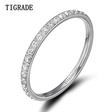 TIGRADE 2mm Women Titanium Ring Cubic Zirconia Anniversary Wedding Engagement Band Size 4 to 13 bagues pour femme