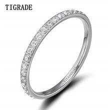 Anel de titânio cúbico tigrau 2mm, anel de zircônia cúbica tamanho 4 a 13 de casamento noivado