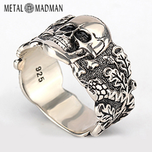 Skull-Ring Demon Vintage-Punk-Rock 925-Sterling-Silver Evil Fashion Jewelry Men Skeleton