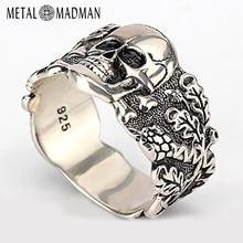 גולגולת טבעת לגברים 925 סטרלינג כסף שלד הליכה רעה שד בציר פאנק רוק מגניב גולגולת טבעת לגברים תכשיטים