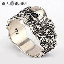 Skull Ring for Men 925 Sterling Silver Skeleton Walking Evil Demon Vintage Punk Rock Cool Skull Ring for Men Fashion Jewelry