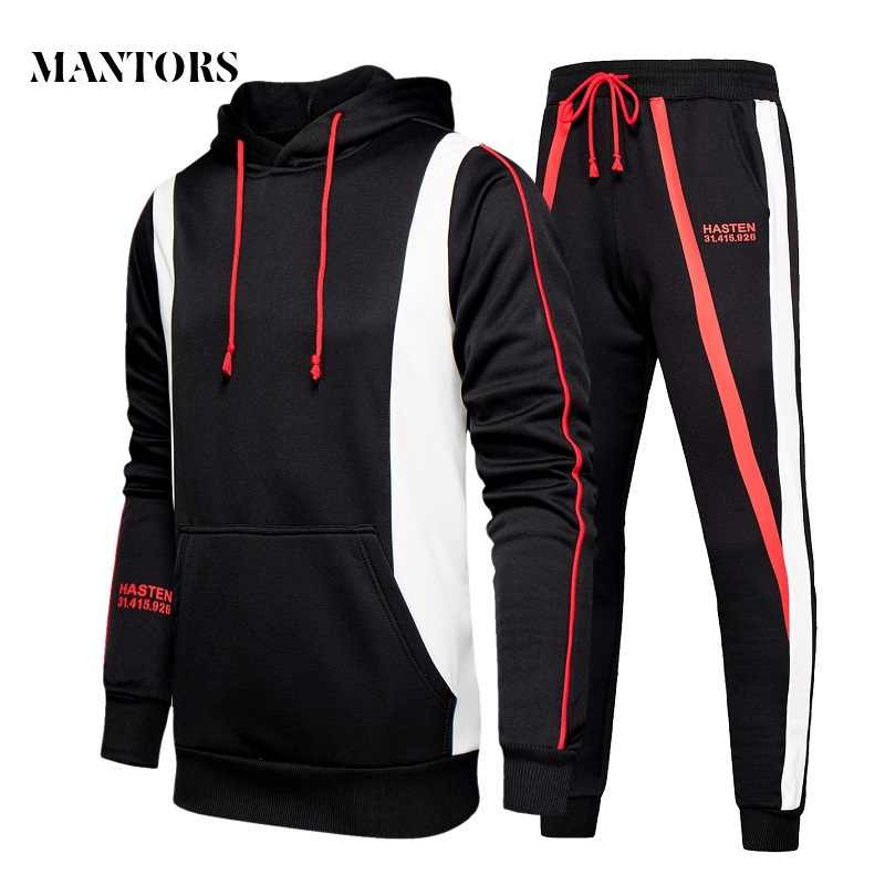 Men Hoodies Set 2019 New Mens Casual Hooded Tracksuit Sweatshirts+Pants Sets Streetwear Male Hoodies Sporting Suit Splice Autumn