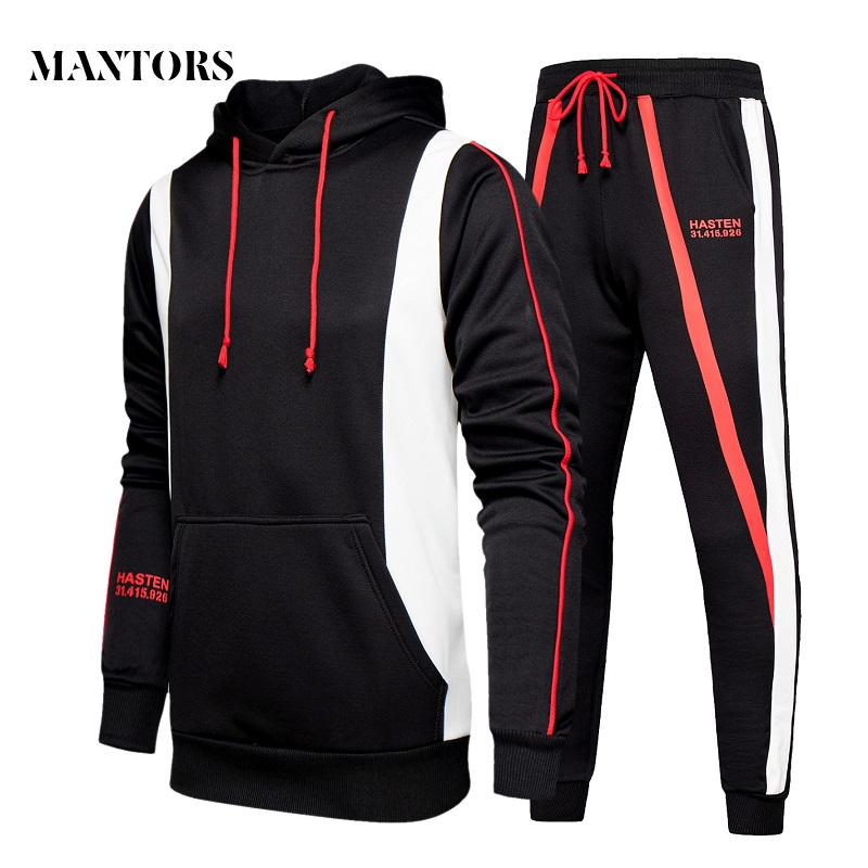 Men Hoodies Set 2020 New Mens Casual Hooded Tracksuit Sweatshirts+Pants Sets Streetwear Male Hoodies Sporting Suit Splice Autumn