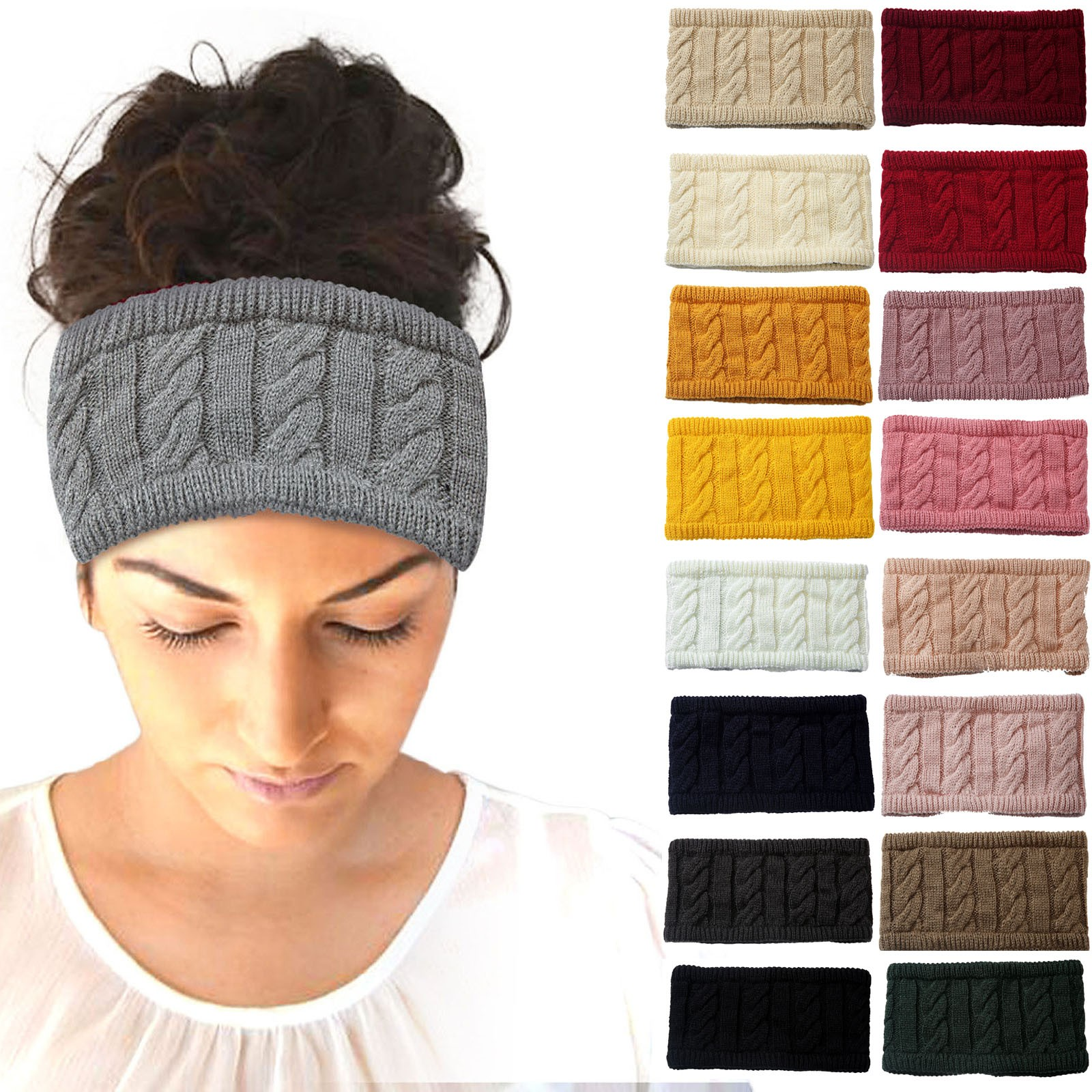 Winter Ear Warmer Headband Women Fashion Elastic Crochet Solid Knitted Headband Head Wrap Hairband Girls Hair Band Accessories