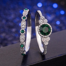 2pcs Emerald Sapphire Gemstones Rings For Women Wedding Engagement 925 Ring Sterling Silver Fine Jewelry Best Gifts Drop Ship